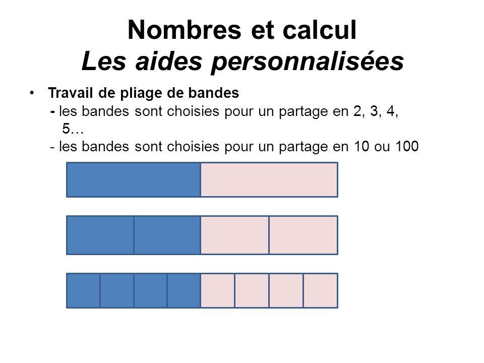 Nombres et calcul Les aides personnalisées Travail de pliage de bandes - les bandes sont choisies pour un partage en 2, 3, 4, 5… - les bandes sont cho