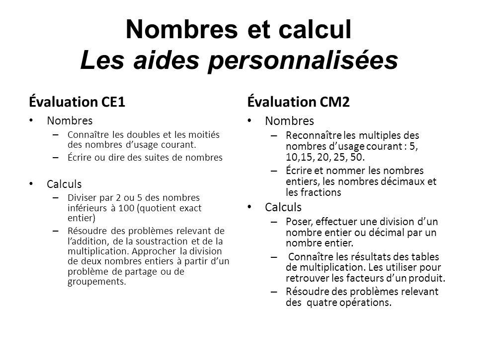Nombres et calcul Les aides personnalisées Évaluation CE1 Nombres – Connaître les doubles et les moitiés des nombres dusage courant. – Écrire ou dire