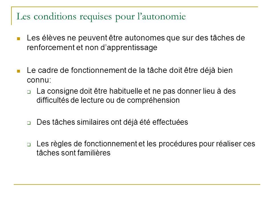 Les conditions requises pour lautonomie Les élèves ne peuvent être autonomes que sur des tâches de renforcement et non dapprentissage Le cadre de fonc