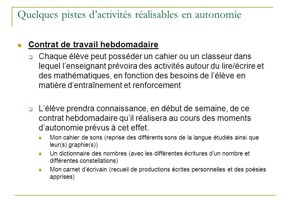 Quelques pistes dactivités réalisables en autonomie Contrat de travail hebdomadaire Chaque élève peut posséder un cahier ou un classeur dans lequel le