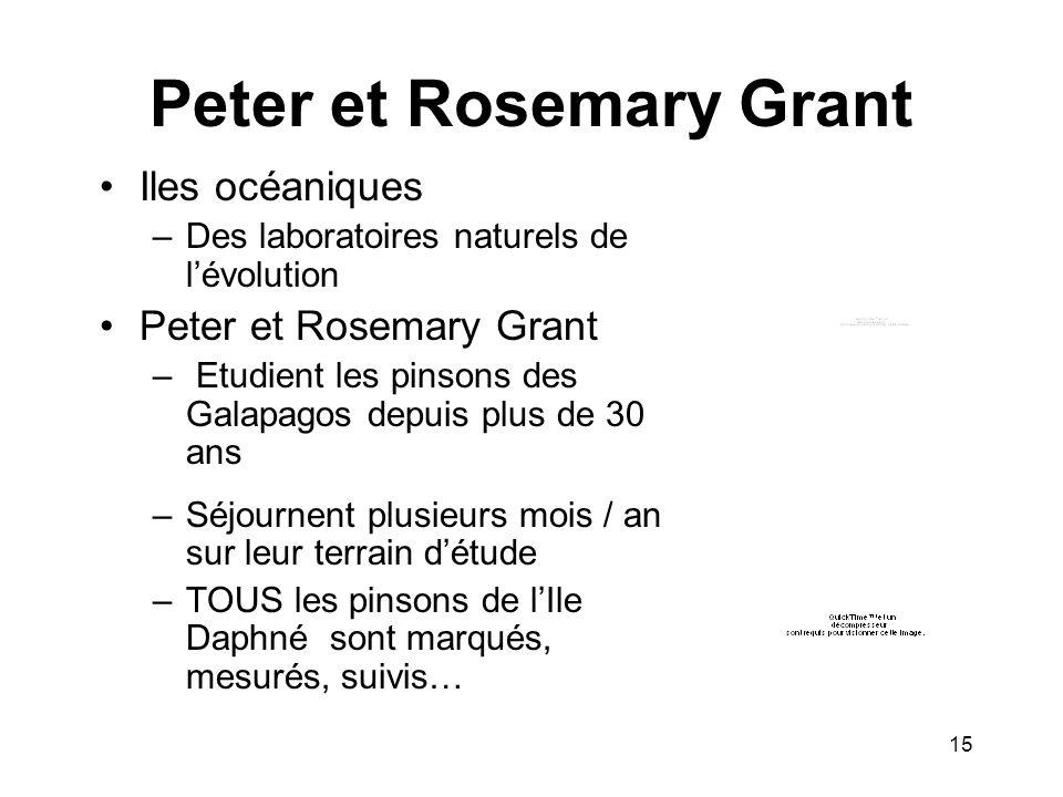 Peter et Rosemary Grant Iles océaniques –Des laboratoires naturels de lévolution Peter et Rosemary Grant – Etudient les pinsons des Galapagos depuis p