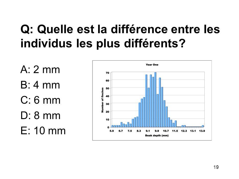 Q: Quelle est la différence entre les individus les plus différents? A: 2 mm B: 4 mm C: 6 mm D: 8 mm E: 10 mm 19