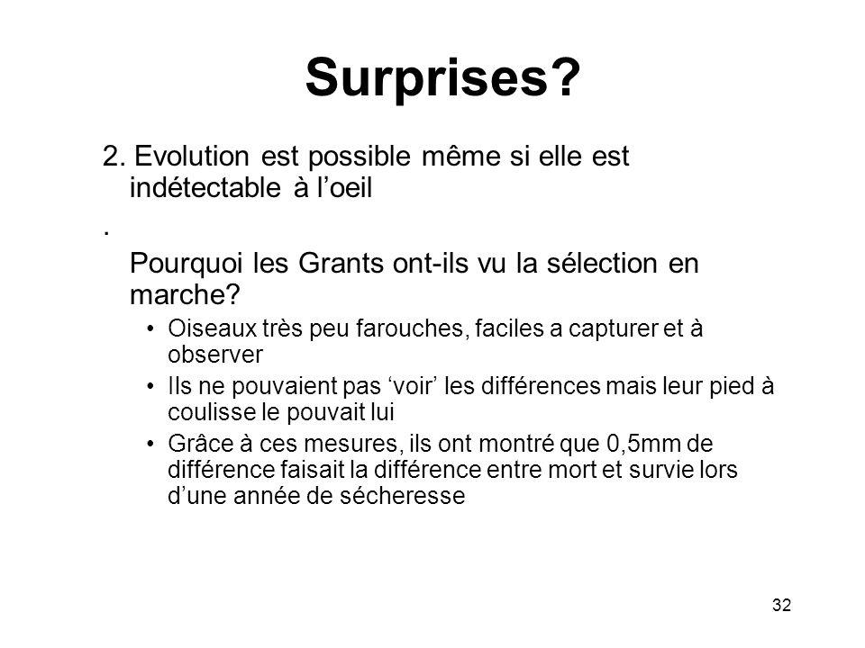 Surprises? 2. Evolution est possible même si elle est indétectable à loeil. Pourquoi les Grants ont-ils vu la sélection en marche? Oiseaux très peu fa