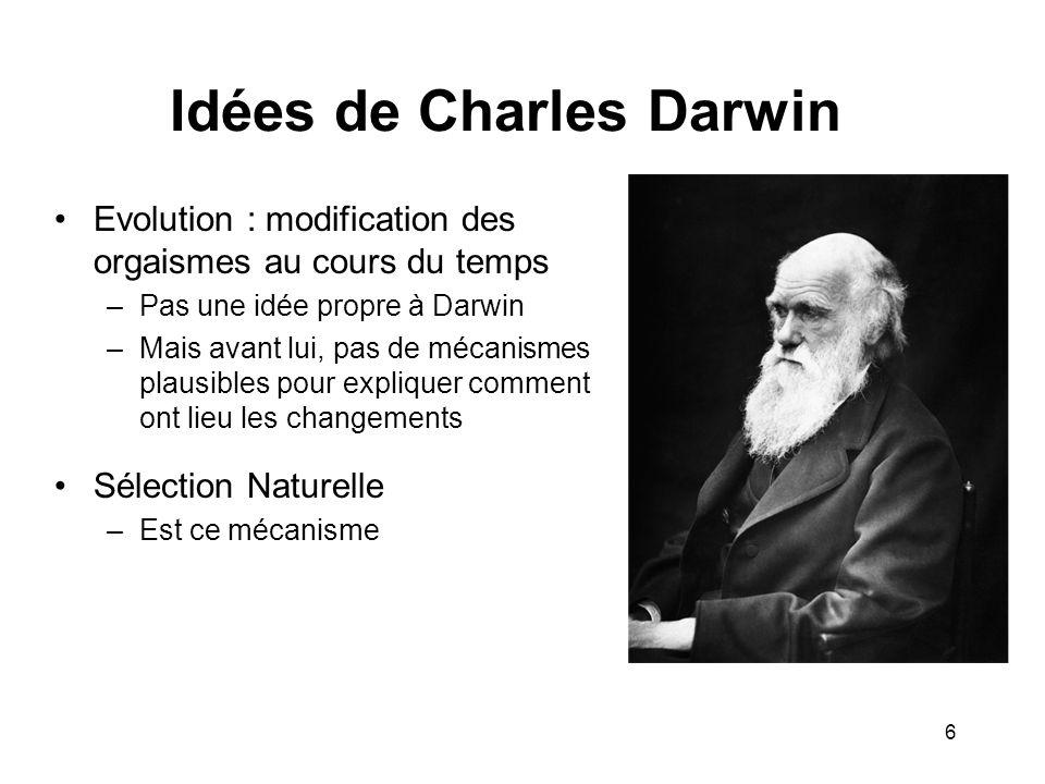 Idées de Charles Darwin Evolution : modification des orgaismes au cours du temps –Pas une idée propre à Darwin –Mais avant lui, pas de mécanismes plau