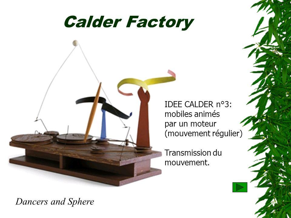 Calder Factory IDEE CALDER n°3: mobiles animés par un moteur (mouvement régulier) Transmission du mouvement. Dancers and Sphere