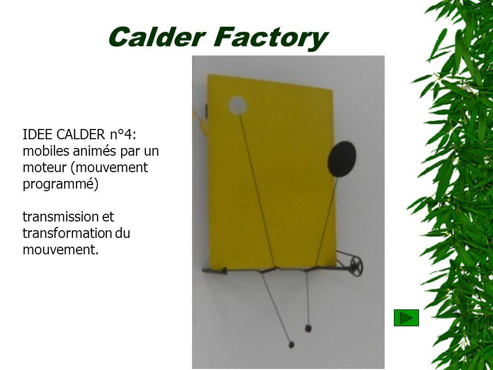 Calder Factory IDEE CALDER n°4: mobiles animés par un moteur (mouvement programmé) transmission et transformation du mouvement.