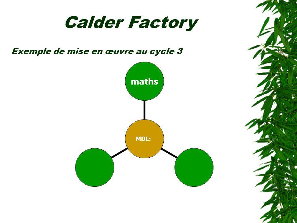 Exemple de mise en œuvre au cycle 3 MDL: maths Calder Factory