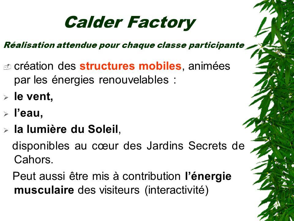 Calder Factory création des structures mobiles, animées par les énergies renouvelables : le vent, leau, la lumière du Soleil, disponibles au cœur des