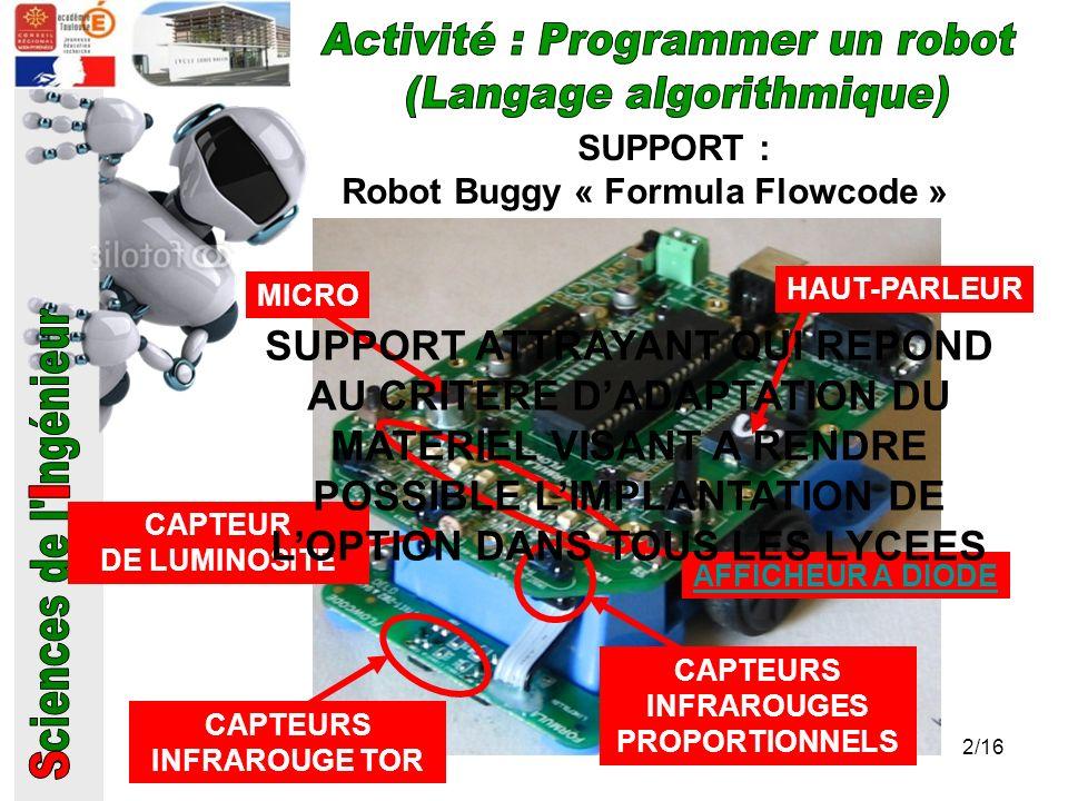 SUPPORT : Robot Buggy « Formula Flowcode » MICRO HAUT-PARLEUR CAPTEUR DE LUMINOSITE AFFICHEUR A DIODE CAPTEURS INFRAROUGE TOR CAPTEURS INFRAROUGES PRO