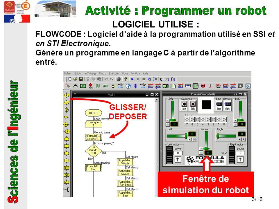 LOGICIEL UTILISE : FLOWCODE : Logiciel daide à la programmation utilisé en SSI et en STI Electronique. Génère un programme en langage C à partir de la