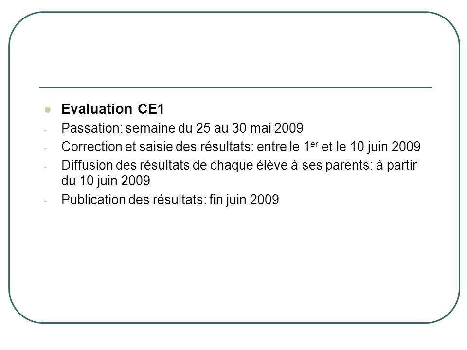 Evaluation CE1 - Passation: semaine du 25 au 30 mai 2009 - Correction et saisie des résultats: entre le 1 er et le 10 juin 2009 - Diffusion des résult