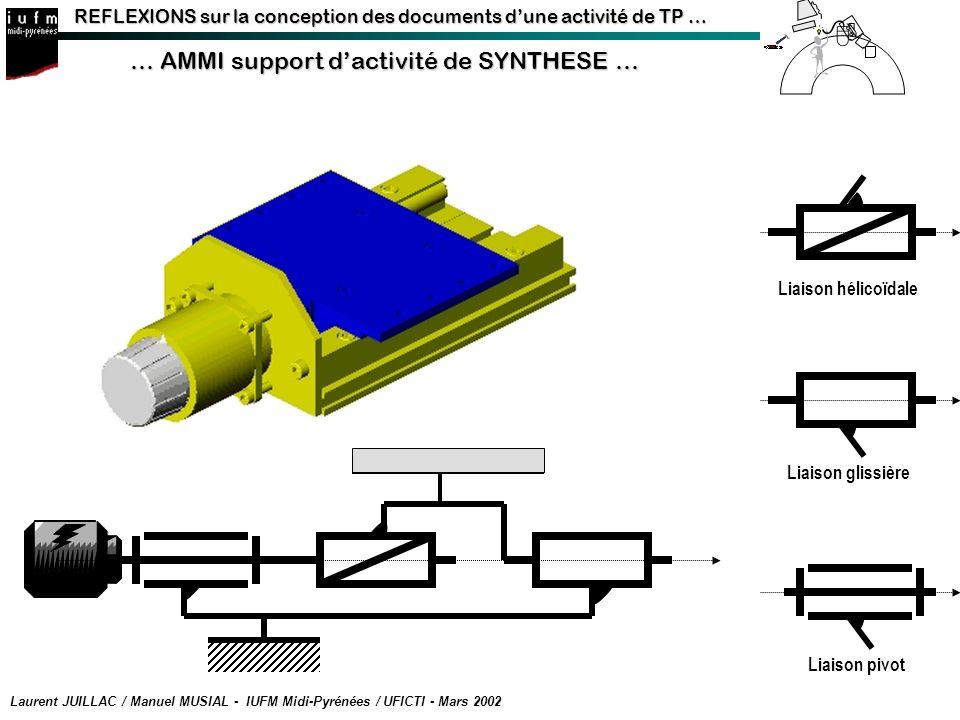 REFLEXIONS sur la conception des documents dune activité de TP … … AMMI support dactivité de SYNTHESE … Laurent JUILLAC / Manuel MUSIAL - IUFM Midi-Py