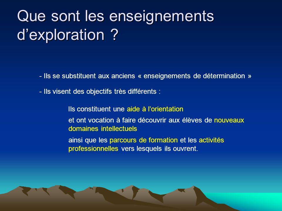 Que sont les enseignements dexploration .