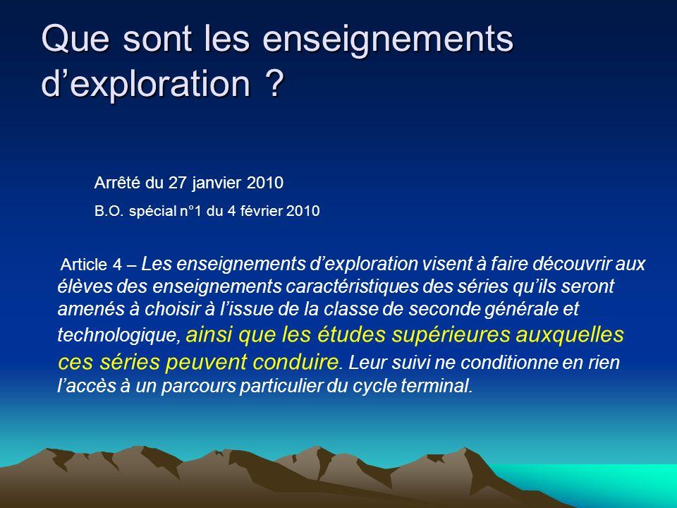 Que sont les enseignements dexploration .Arrêté du 27 janvier 2010 B.O.