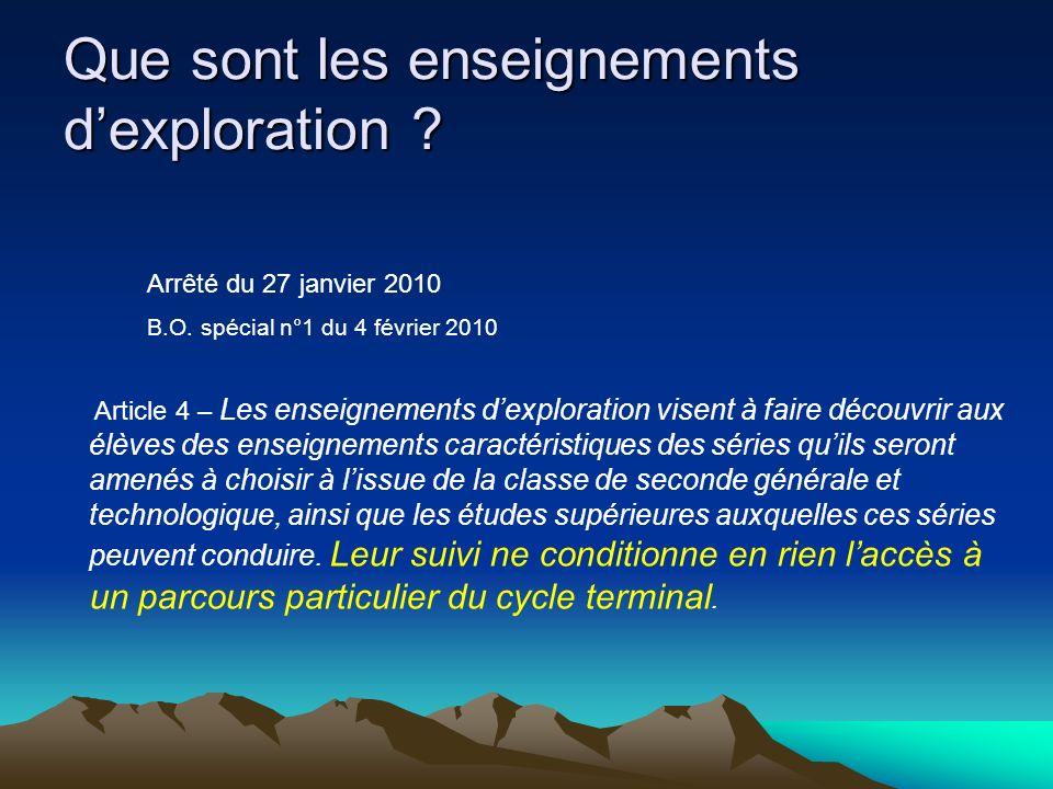 Que sont les enseignements dexploration . Arrêté du 27 janvier 2010 B.O.