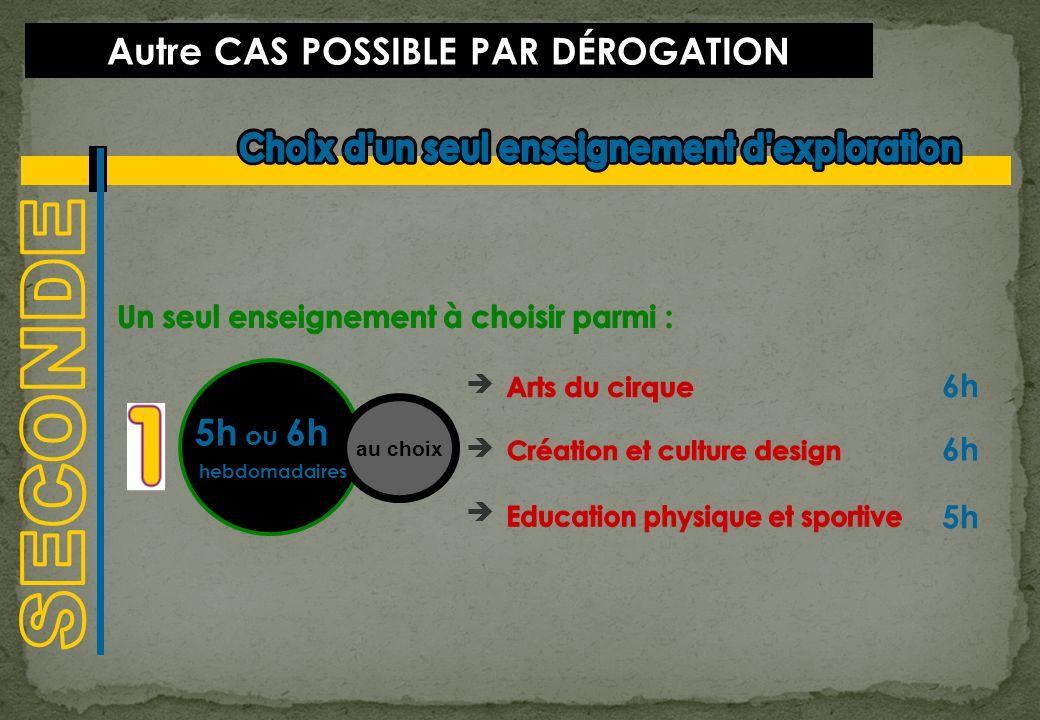 CAS POSSIBLE PAR DÉROGATION 1h30 au choix & 2x1h30 hebdomadaire