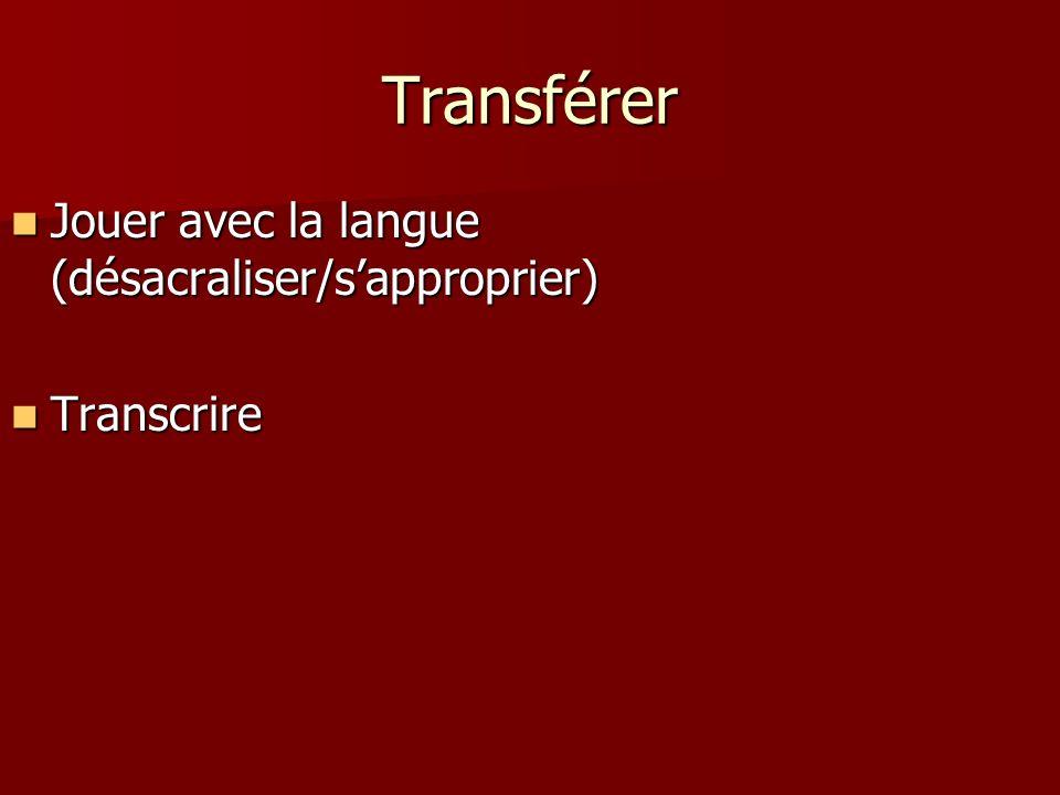 Repérer MotsSyllabesSons Comme des éléments constituant de la langue Comme des éléments constituant de la langue Comme une transcription du langage éc
