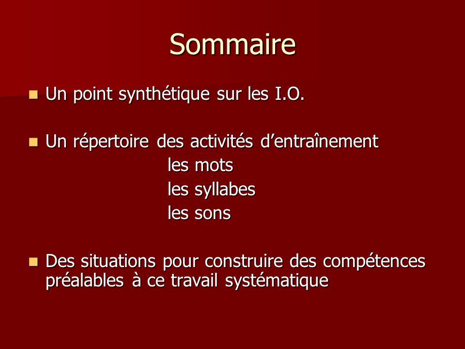 Sommaire Un point synthétique sur les I.O.Un point synthétique sur les I.O.