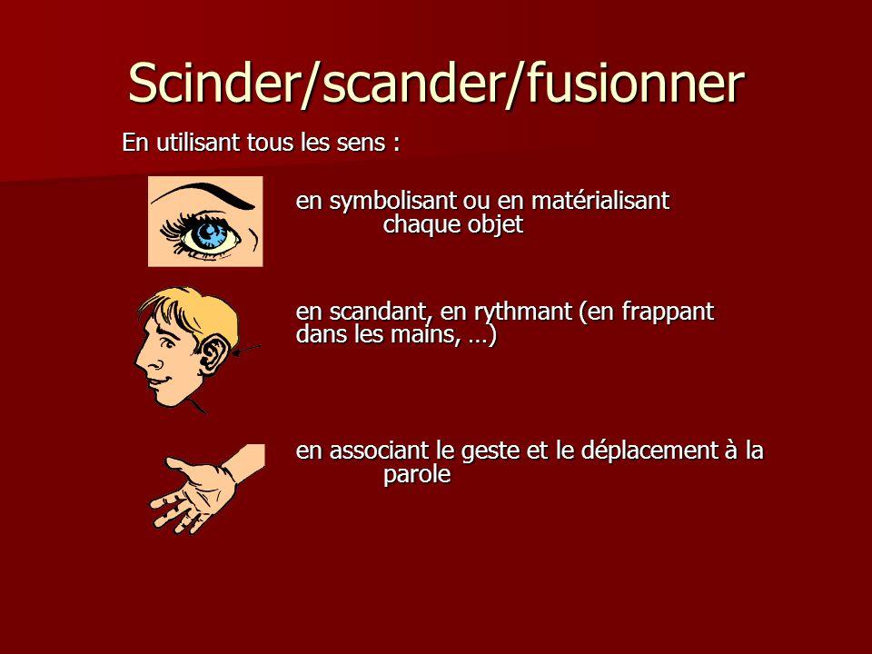 Scinder/scander/fusionner En utilisant tous les sens : en symbolisant ou en matérialisant chaque objet en scandant, en rythmant (en frappant dans les mains, …) en associant le geste et le déplacement à la parole