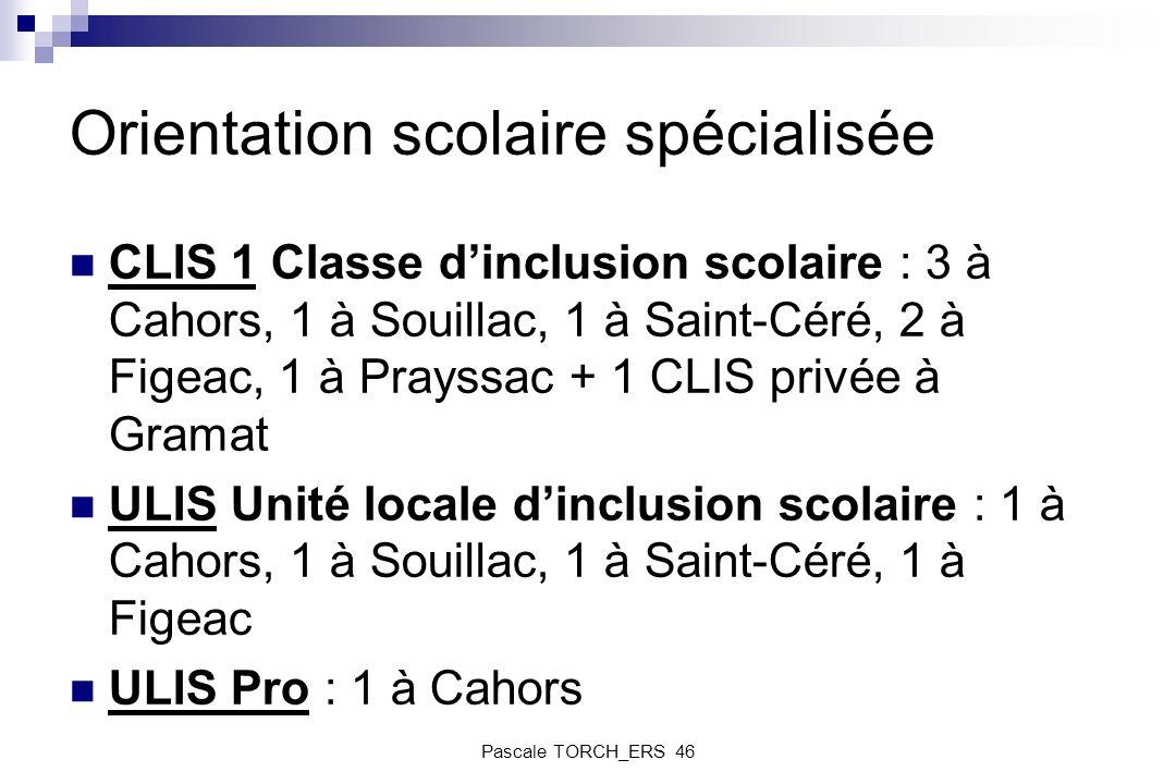 Orientation scolaire spécialisée CLIS 1 Classe dinclusion scolaire : 3 à Cahors, 1 à Souillac, 1 à Saint-Céré, 2 à Figeac, 1 à Prayssac + 1 CLIS privé