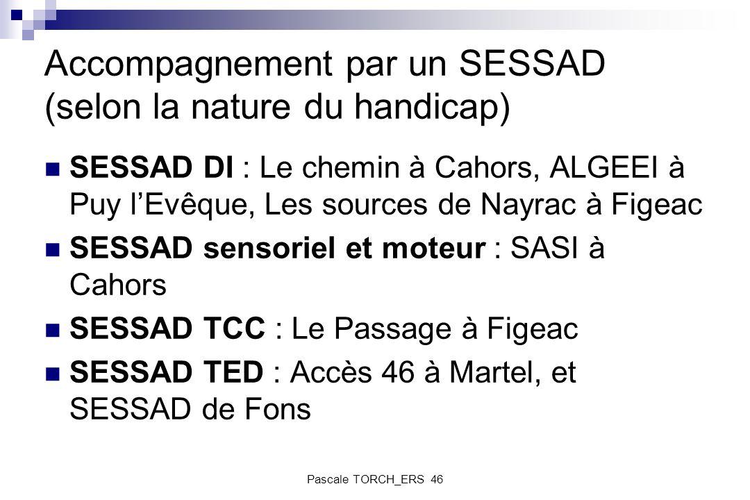 Accompagnement par un SESSAD (selon la nature du handicap) SESSAD DI : Le chemin à Cahors, ALGEEI à Puy lEvêque, Les sources de Nayrac à Figeac SESSAD
