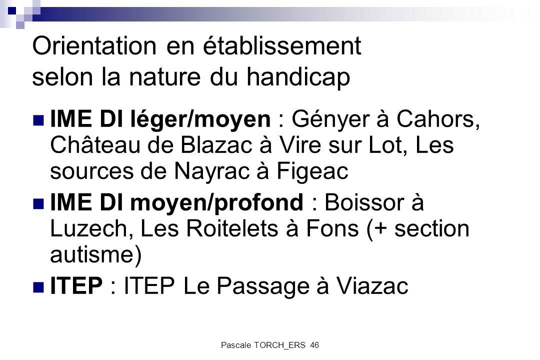 Orientation en établissement selon la nature du handicap IME DI léger/moyen : Gényer à Cahors, Château de Blazac à Vire sur Lot, Les sources de Nayrac
