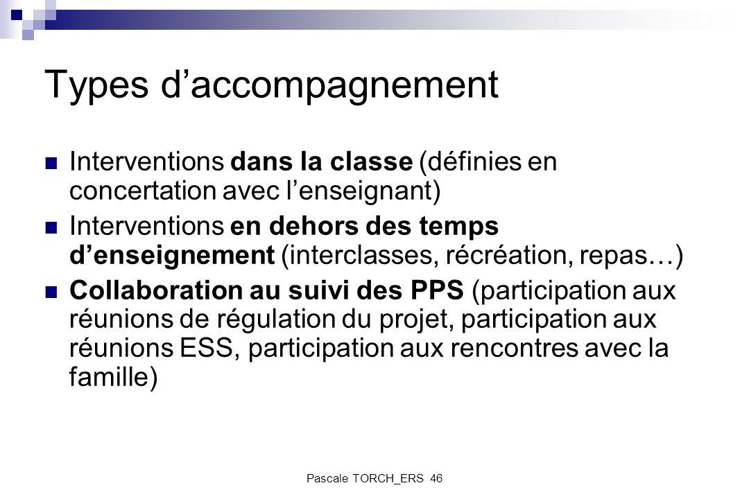 Types daccompagnement Interventions dans la classe (définies en concertation avec lenseignant) Interventions en dehors des temps denseignement (interc