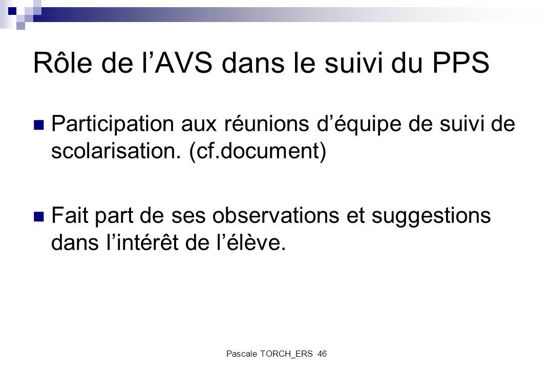 Rôle de lAVS dans le suivi du PPS Participation aux réunions déquipe de suivi de scolarisation. (cf.document) Fait part de ses observations et suggest