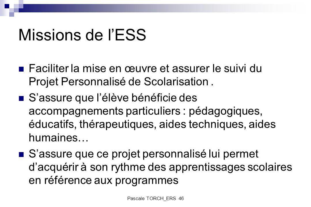Missions de lESS Faciliter la mise en œuvre et assurer le suivi du Projet Personnalisé de Scolarisation. Sassure que lélève bénéficie des accompagneme