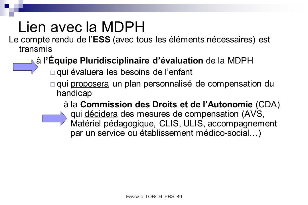 Lien avec la MDPH Le compte rendu de lESS (avec tous les éléments nécessaires) est transmis à lÉquipe Pluridisciplinaire dévaluation de la MDPH qui év