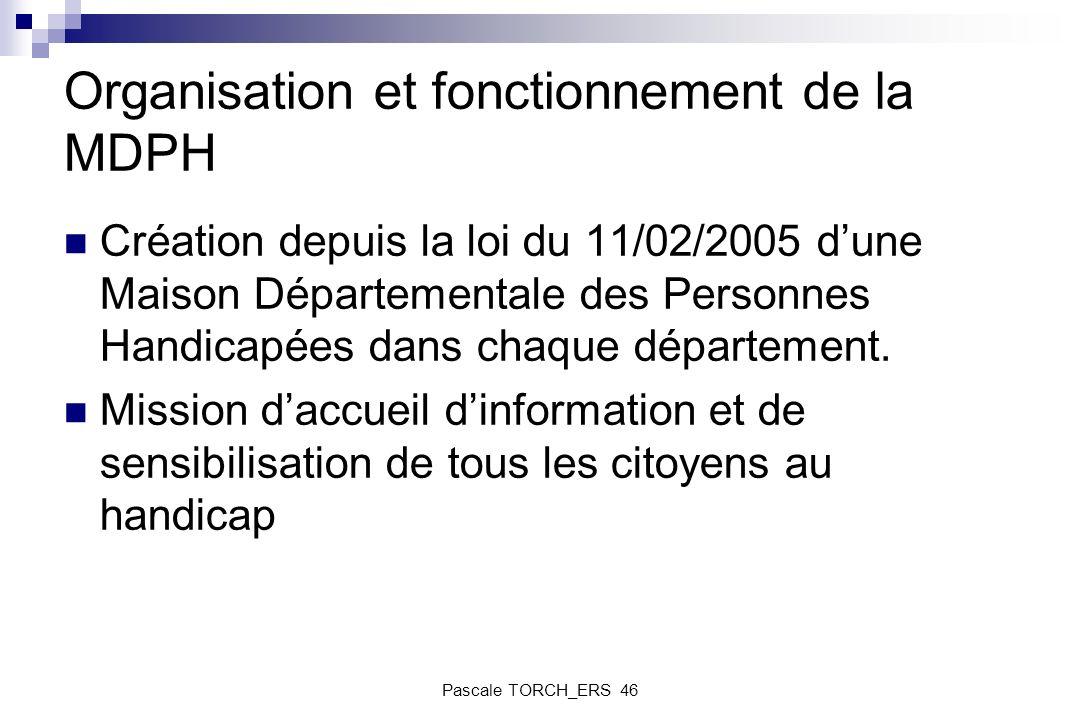 Organisation et fonctionnement de la MDPH Création depuis la loi du 11/02/2005 dune Maison Départementale des Personnes Handicapées dans chaque départ