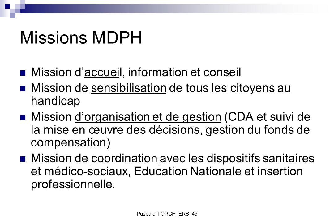 Missions MDPH Mission daccueil, information et conseil Mission de sensibilisation de tous les citoyens au handicap Mission dorganisation et de gestion