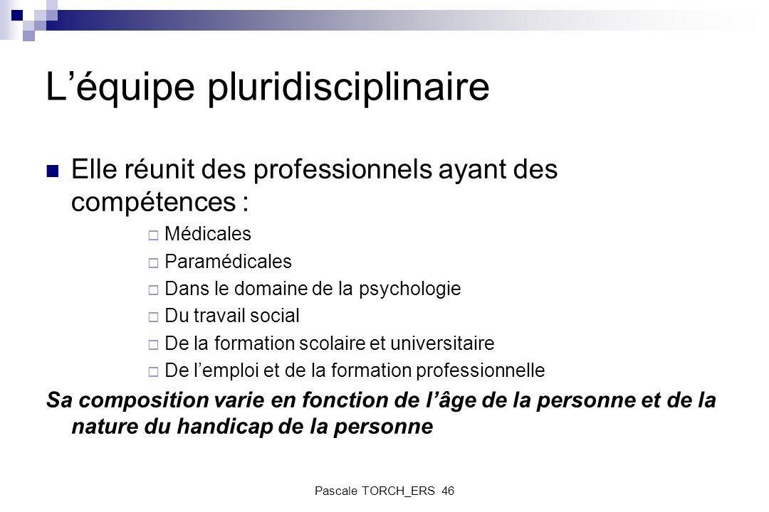Léquipe pluridisciplinaire Elle réunit des professionnels ayant des compétences : Médicales Paramédicales Dans le domaine de la psychologie Du travail