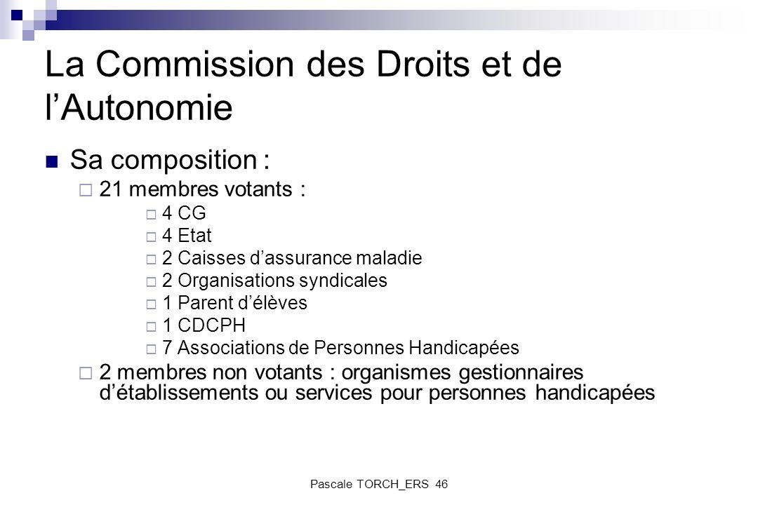 La Commission des Droits et de lAutonomie Sa composition : 21 membres votants : 4 CG 4 Etat 2 Caisses dassurance maladie 2 Organisations syndicales 1