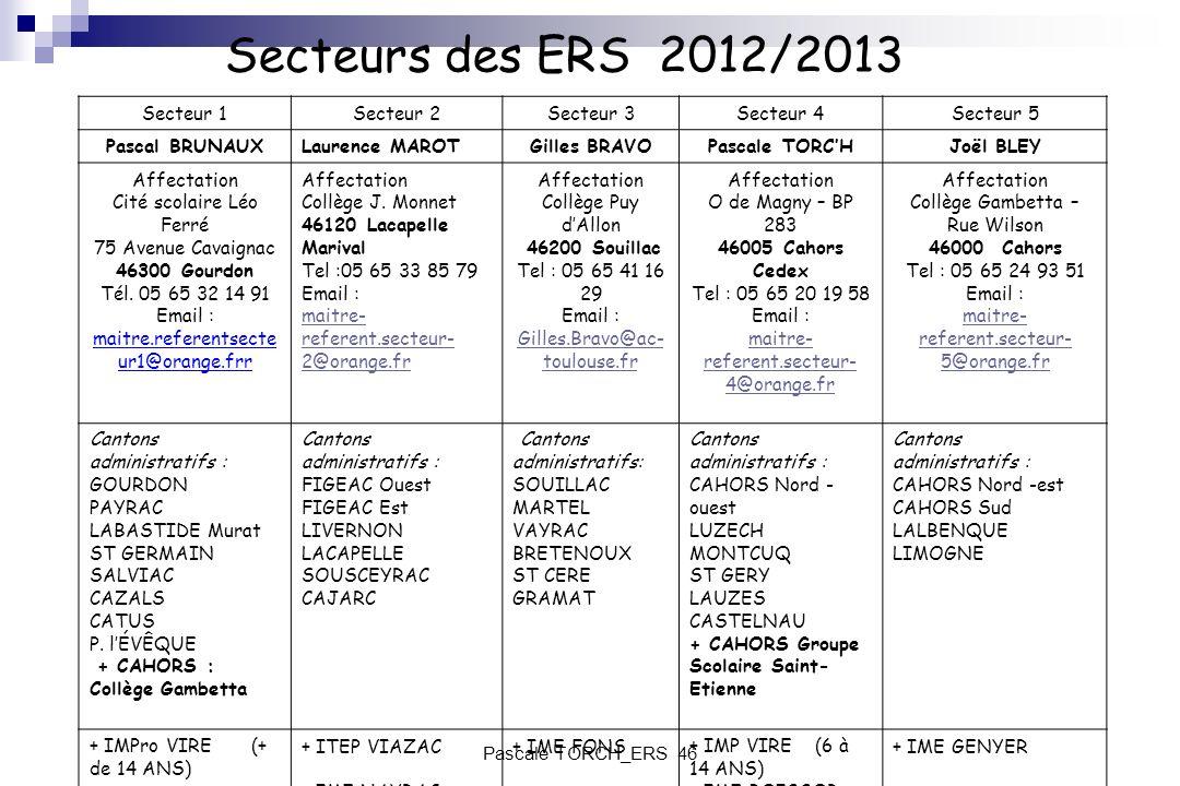 Secteurs des ERS 2012/2013 Secteur 1Secteur 2Secteur 3Secteur 4Secteur 5 Pascal BRUNAUXLaurence MAROTGilles BRAVOPascale TORCHJoël BLEY Affectation Ci
