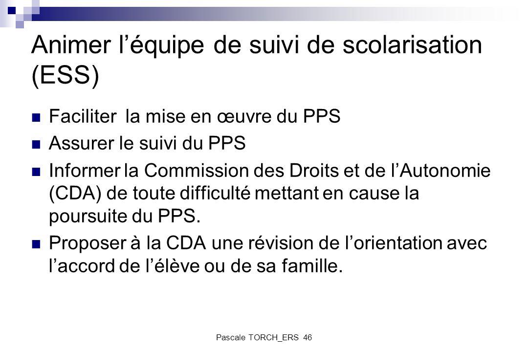 Animer léquipe de suivi de scolarisation (ESS) Faciliter la mise en œuvre du PPS Assurer le suivi du PPS Informer la Commission des Droits et de lAuto