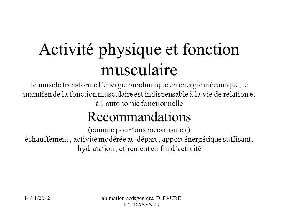 14/11/2012animation pédagogique D. FAURE ICT DASEN 09 Activité physique et fonction musculaire le muscle transforme lénergie biochimique en énergie mé