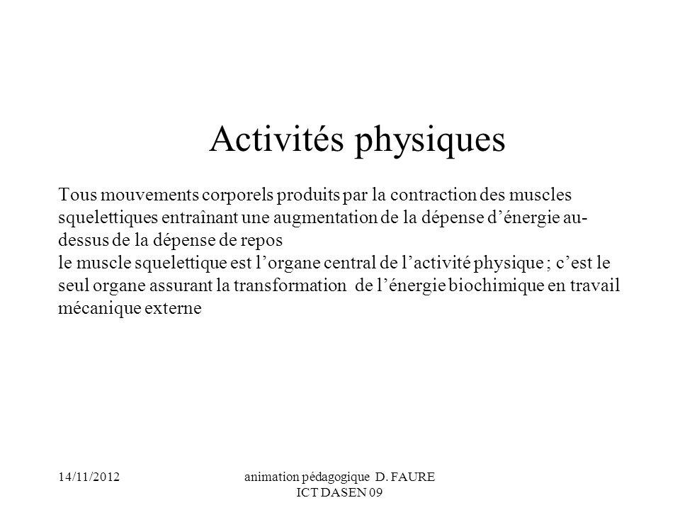 14/11/2012animation pédagogique D. FAURE ICT DASEN 09 Activités physiques Tous mouvements corporels produits par la contraction des muscles squelettiq