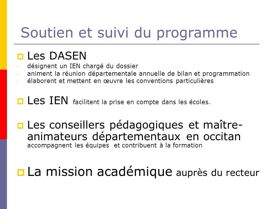 Soutien et suivi du programme Les DASEN - désignent un IEN chargé du dossier - animent la réunion départementale annuelle de bilan et programmation -