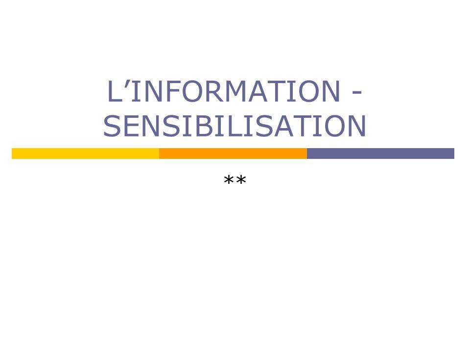 LINFORMATION - SENSIBILISATION **