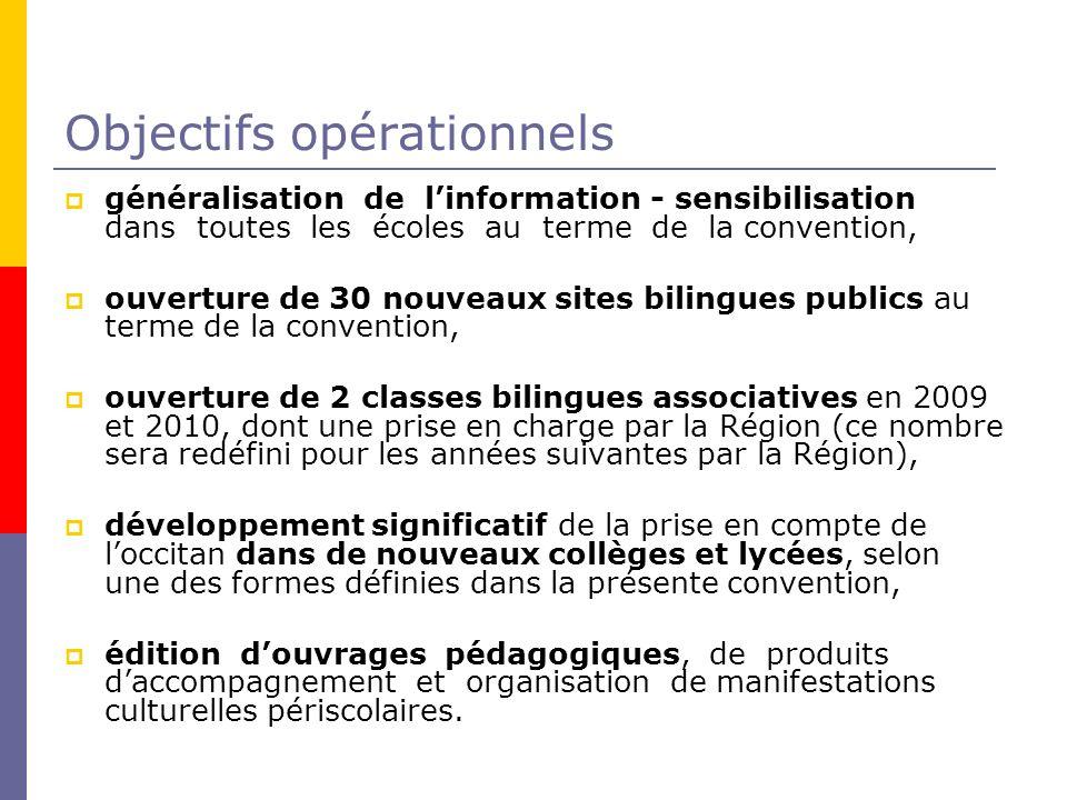 Objectifs opérationnels généralisation de linformation - sensibilisation dans toutes les écoles au terme de la convention, ouverture de 30 nouveaux si