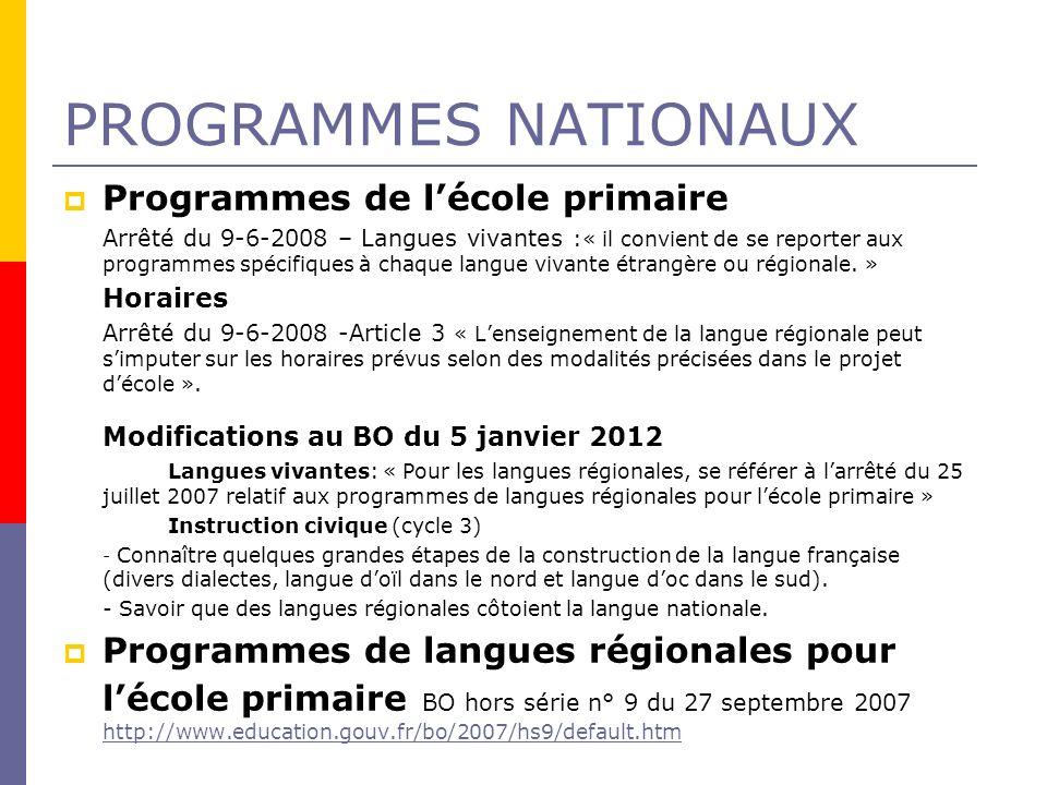 PROGRAMMES NATIONAUX Programmes de lécole primaire Arrêté du 9-6-2008 – Langues vivantes :« il convient de se reporter aux programmes spécifiques à ch