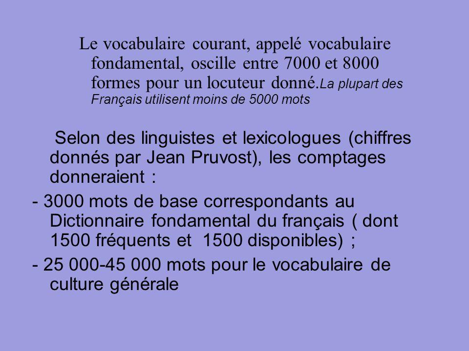 Le vocabulaire courant, appelé vocabulaire fondamental, oscille entre 7000 et 8000 formes pour un locuteur donné. La plupart des Français utilisent mo