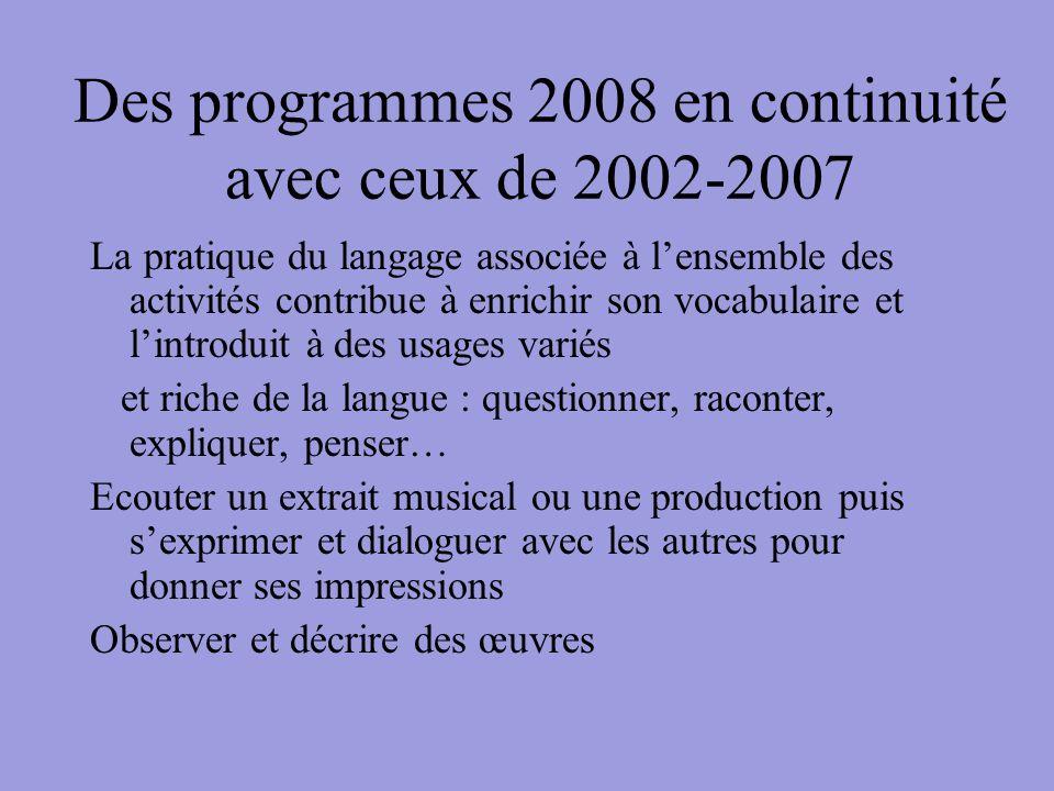 Des programmes 2008 en continuité avec ceux de 2002-2007 La pratique du langage associée à lensemble des activités contribue à enrichir son vocabulair