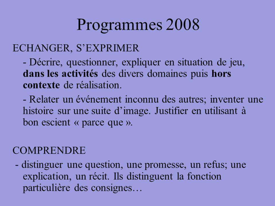 Programmes 2008 ECHANGER, SEXPRIMER - Décrire, questionner, expliquer en situation de jeu, dans les activités des divers domaines puis hors contexte d