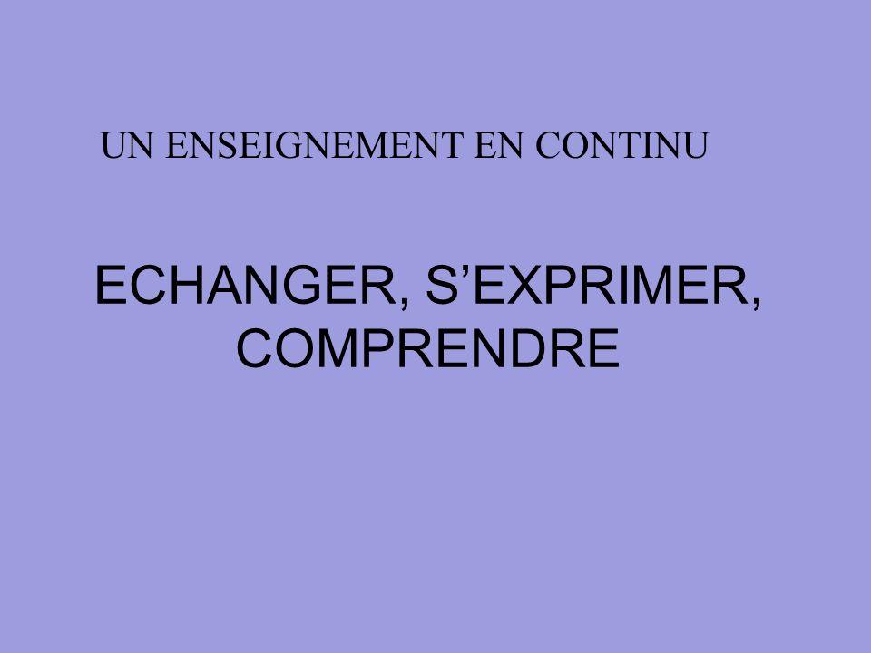 ECHANGER, SEXPRIMER, COMPRENDRE UN ENSEIGNEMENT EN CONTINU