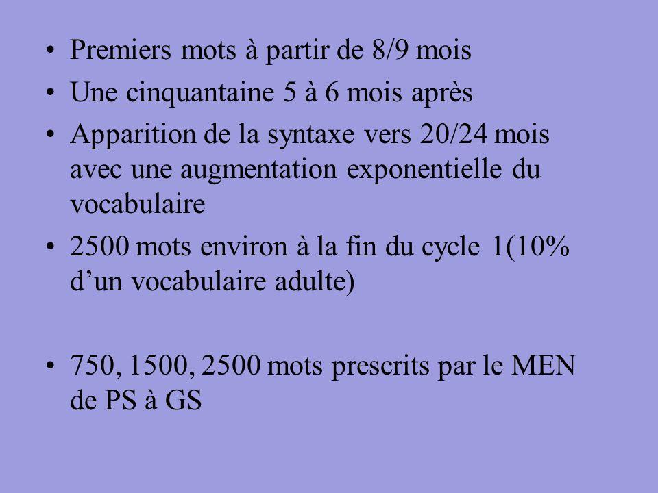 Premiers mots à partir de 8/9 mois Une cinquantaine 5 à 6 mois après Apparition de la syntaxe vers 20/24 mois avec une augmentation exponentielle du v