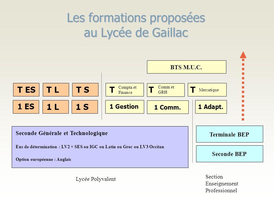 Les formations proposées au Lycée de Gaillac Seconde BEP Seconde Générale et Technologique Ens de détermination : LV2 + SES ou IGC ou Latin ou Grec ou