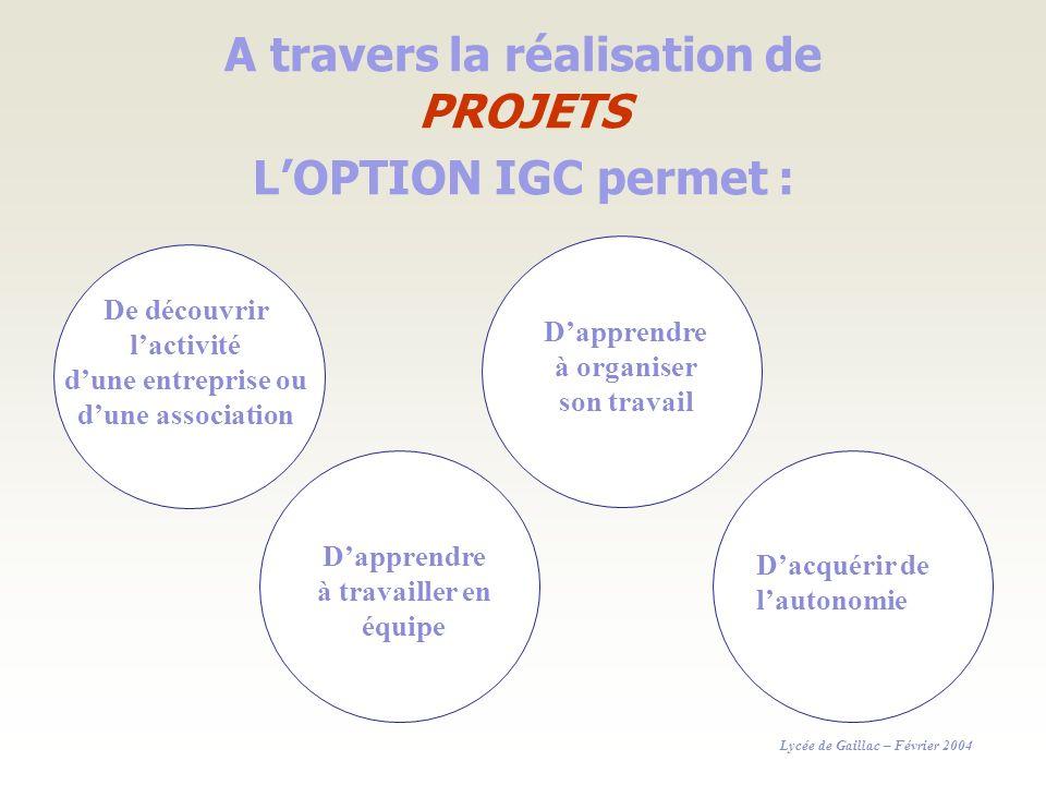 A travers la réalisation de PROJETS LOPTION IGC permet : De découvrir lactivité dune entreprise ou dune association Dapprendre à travailler en équipe