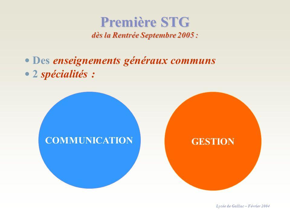 Première STG dès la Rentrée Septembre 2005 : COMMUNICATION GESTION Des enseignements généraux communs 2 spécialités : Lycée de Gaillac – Février 2004